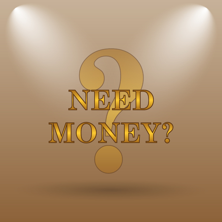 trading questions: Need money icon. Internet button on brown background. Stock Photo
