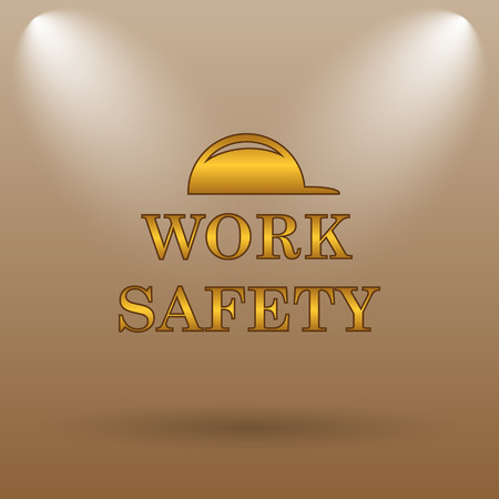 dangerous construction: Work safety icon. Internet button on brown background.