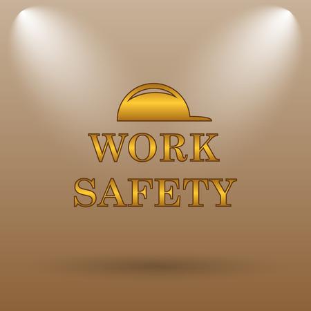 dangerous work: Work safety icon. Internet button on brown background.