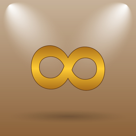 mobius loop: Infinity sign icon. Internet button on brown background. Stock Photo