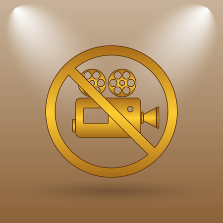 Forbidden video camera icon. Internet button on brown background.