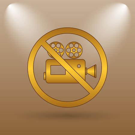 forbidden: Forbidden video camera icon. Internet button on brown background.