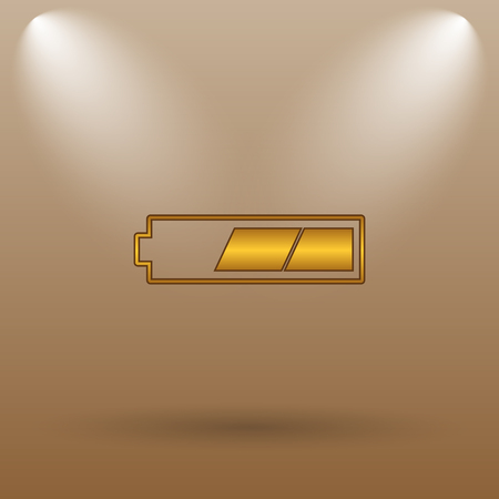 charged: 2 thirds charged battery icon. Internet button on brown background. Stock Photo