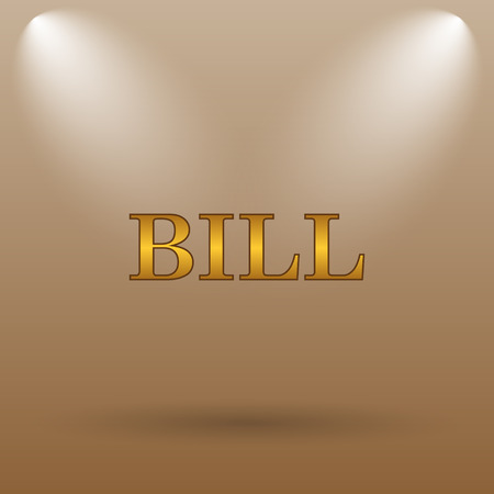 accounts payable: Bill icon. Internet button on brown background.