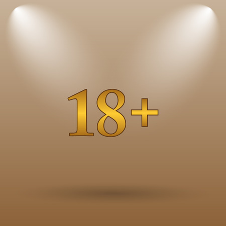 information age: 18 plus icon. Internet button on brown background. Stock Photo