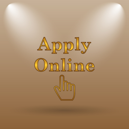 apply: Apply online icon. Internet button on brown background.