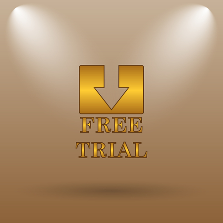 gratuity: Free trial icon. Internet button on brown background.