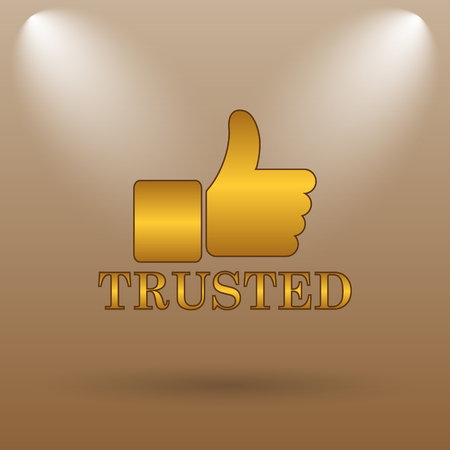trusted: Trusted icon. Internet button on brown background. Stock Photo