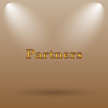 partners: Partners icon. Internet button on brown background. Stock Photo