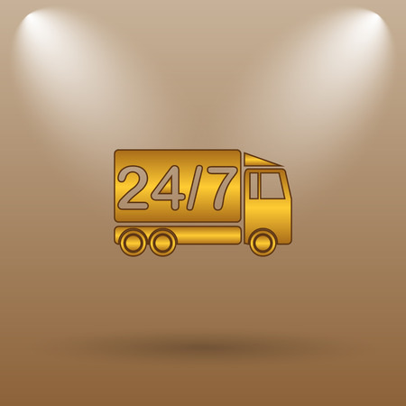 hrs: 24 7 delivery truck icon. Internet button on brown background.