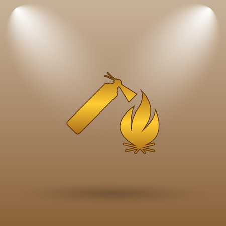 firealarm: Fire icon. Internet button on brown background.