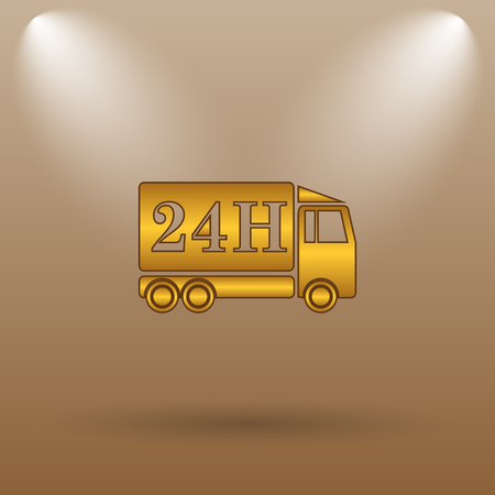 24h: 24H delivery truck icon. Internet button on brown background.