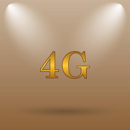 4g: 4G icon. Internet button on brown background.