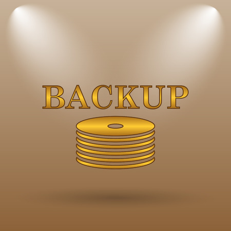 data archiving: Back-up icon. Internet button on brown background.