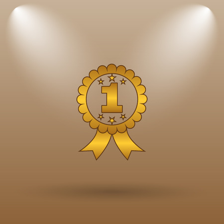 first prize: First prize ribbon icon. Internet button on brown background. Stock Photo