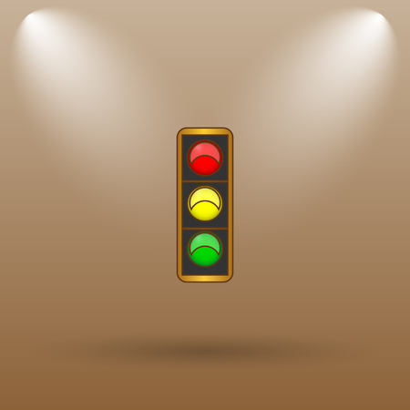 light brown: Traffic light icon. Internet button on brown background.