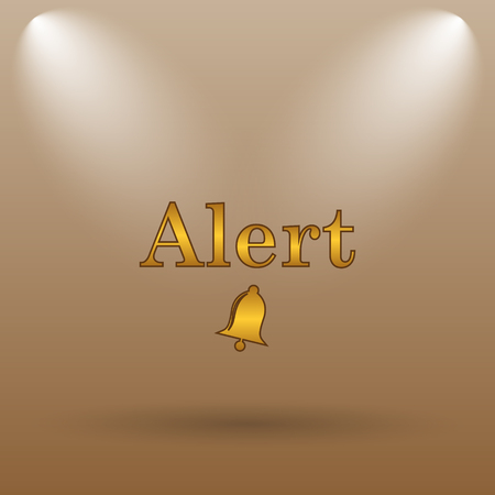peril: Alert icon. Internet button on brown background.