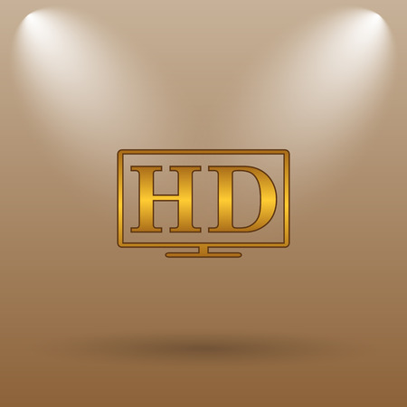 hd tv: HD TV icon. Internet button on brown background.