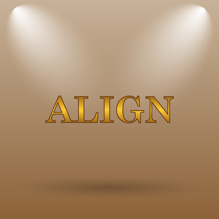 align: Align icon. Internet button on brown background.