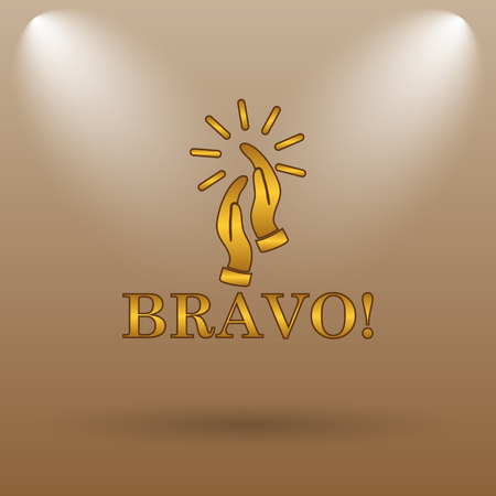 applaud: Bravo icon. Internet button on brown background. Stock Photo