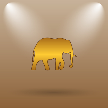 endanger: Elephant icon. Internet button on brown background.