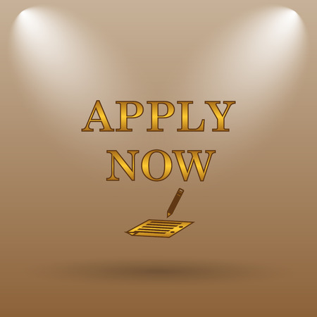 apply: Apply now icon. Internet button on brown background. Stock Photo