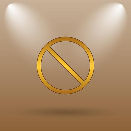 disallowed: Forbidden icon. Internet button on brown background.