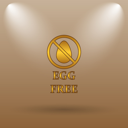 brown egg: Egg free icon. Internet button on brown background. Stock Photo