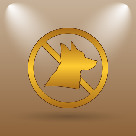 refused: Forbidden dogs icon. Internet button on brown background. Stock Photo