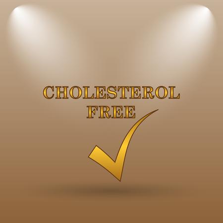 cholesterol free: Cholesterol free icon. Internet button on brown background. Stock Photo