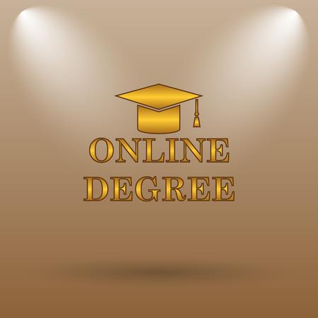online degree: Online degree icon. Internet button on brown background.