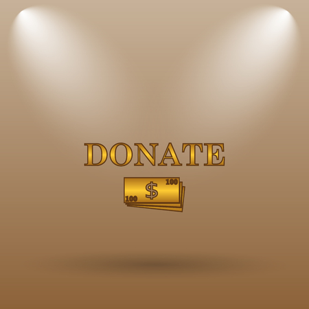 aiding: Donate icon. Internet button on brown background.