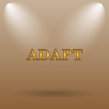 adapt: Adapt icon. Internet button on brown background.