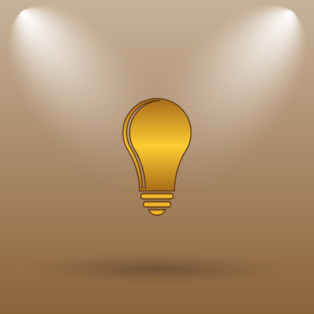 light brown: Light bulb - idea icon. Internet button on brown background.
