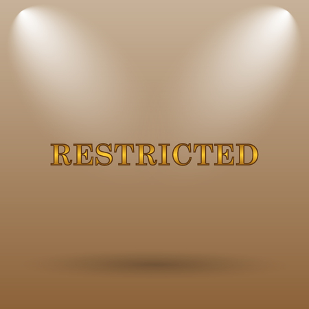 restricted icon: Restricted icon. Internet button on brown background.