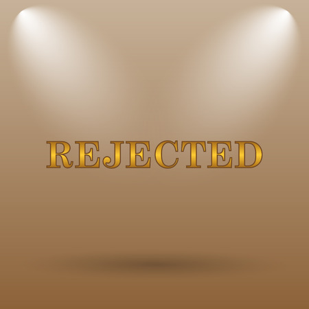 rejected: Rejected icon. Internet button on brown background.