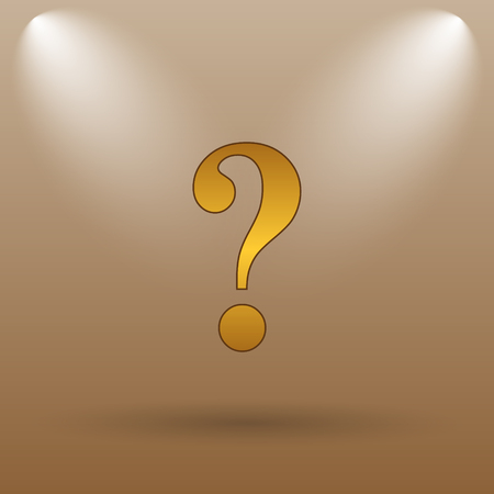 inquiry: Question mark icon. Internet button on brown background. Stock Photo