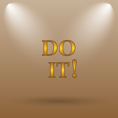 just do it: Do it icon. Internet button on brown background.