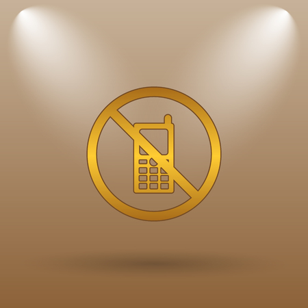 refrain: Mobile phone restricted icon. Internet button on brown background.