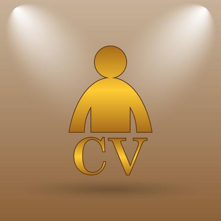 unoccupied: CV icon. Internet button on brown background. Stock Photo
