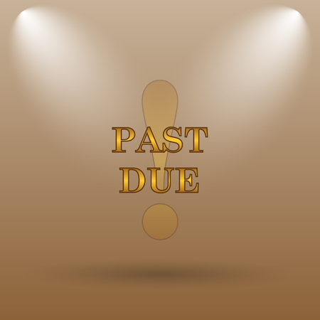 past: Past due icon. Internet button on brown background.