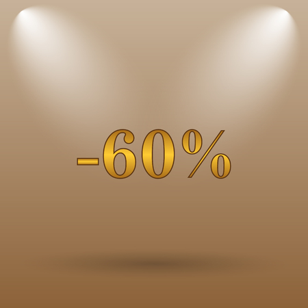60: 60 percent discount icon. Internet button on brown background.