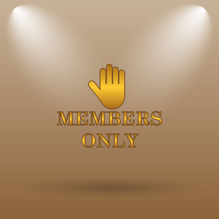 closed society: Members only icon. Internet button on brown background.