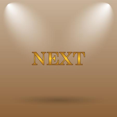 background next: Next icon. Internet button on brown background.