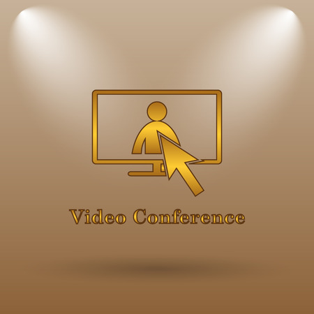 human resource affairs: Video conference, online meeting icon. Internet button on brown background. Stock Photo