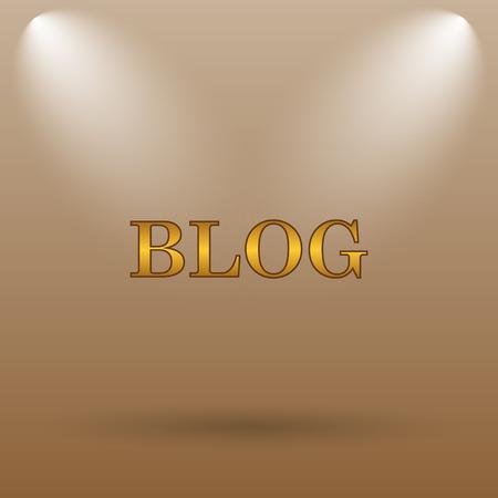 blog icon: Blog icon. Internet button on brown background.