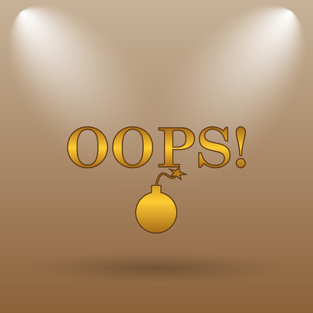oops: Oops icon. Internet button on brown background.