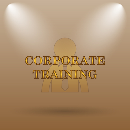 corporate training: Corporate training icon. Internet button on brown background.
