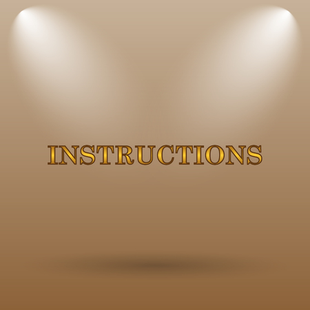 instructions: Instructions icon. Internet button on brown background.