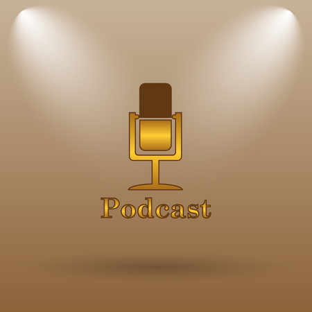 gold record: Podcast icon. Internet button on brown background. Stock Photo